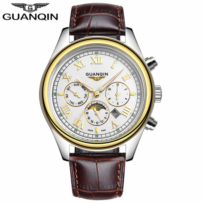 GUANQIN GQ12001 Mens Watch New Arrival Luxury Brand Butterfly Bouble Buckle Quartz Watch Hardlex Dial Window Material Type<br>