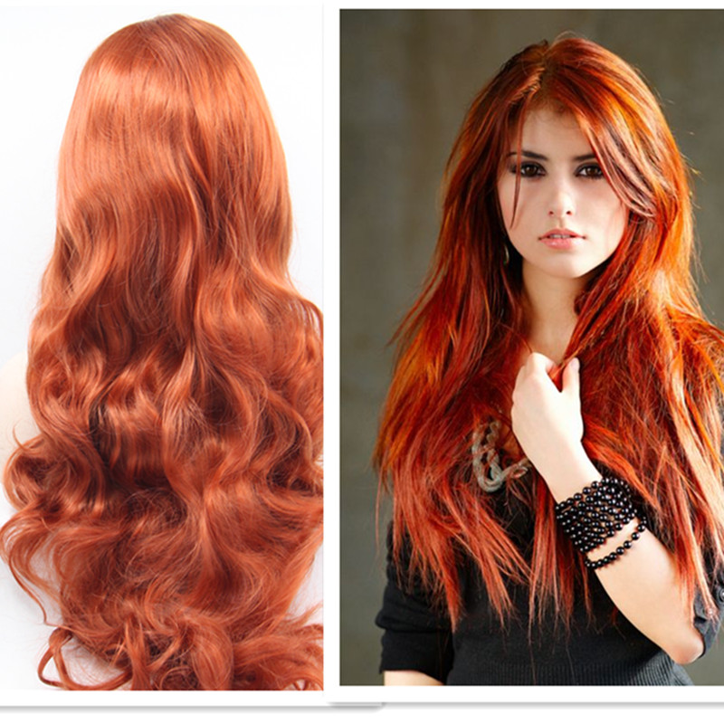 Fashion Long Body Wavy Synthetic Wigs Red Orange Hair Wigs With Baby Hair Heat Resistant Synthetic Lace Wig<br><br>Aliexpress