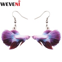 WEVENI Acrylic Drop Dangle Fighting Fish Long Earrings New Fashion Ocean Collection Animal Jewelry For Women Girl Accessories(China)