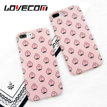 LOVECOM Lovely Cute Pink peach Expression Face Back Cover For iphone 7 7 PLus Soft IMD Phone Cases Coque Fundas