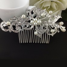 Wedding Rhinestone Pearl Hair Comb Slide Floral Head Piece Hair Comb Clip Crystal Bridal Hairpin Jewelry Hair Accessory