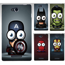 Top Selling Captain America Batman Superman PC Hood Phone Cases Covers For SONY Xperia C S39H C2305 Phone Case Back Cover Shell