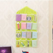 16 PocketsThick Hanging Clear Door Wall Socks Cosmetic Underwear Storage Bag Closet Organizer Bag 2016