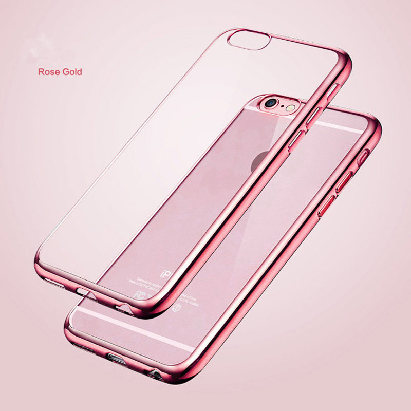 Luxury Ultra Thin Clear Crystal Rubber Plating Electroplating TPU Soft Mobile Phone Case For iPhone 5 SE 6 6s 7 Plus Cover bag(China)