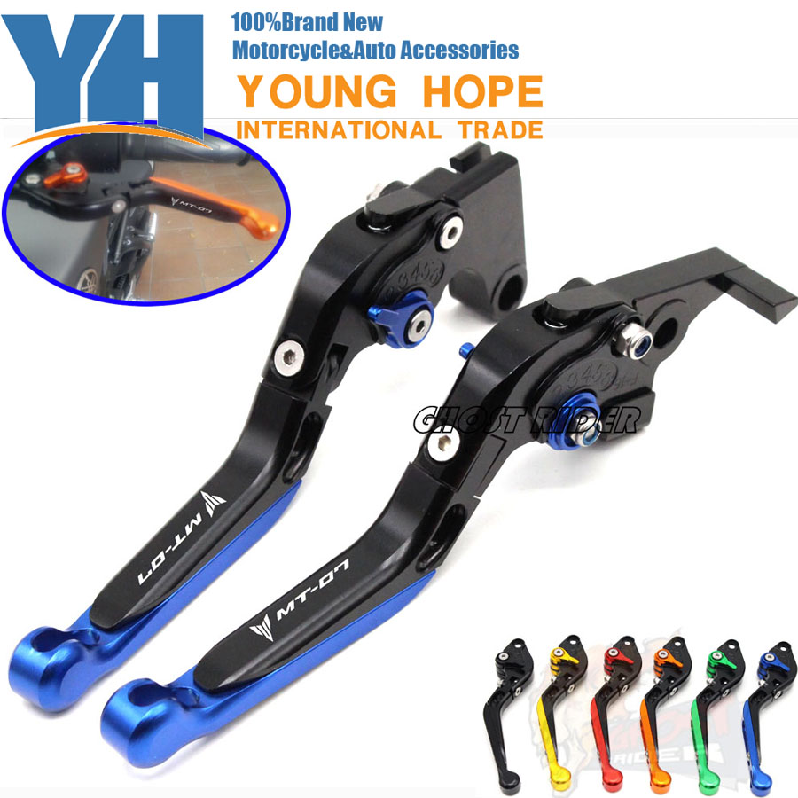 For YAMAHA MT-07 MT 07 2014-2015 Motorcycle Accessories Adjustable Folding Extendable Brake Clutch Levers LOGO MT-07 Black<br>