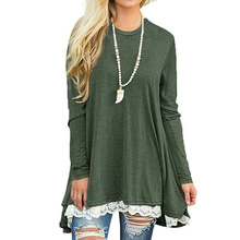 Casual Work Clothes Women Blouses And Tops Loose Shirts Autumn Winter 2017 Basic Lace Up Shirt Track Jumper Tunic Blusas WS3706Z(China)