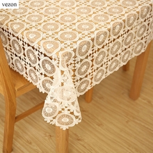 vezon New Hot Quality Elegant Full Lace Tablecloth White Wedding Table Cloth Cover Overlays Home Decoration Wine Organza Textile(China)