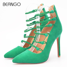 BEANGO Green Suede Leather Women Pumps Narrow Band Button Pointed Toe Thin High Heel Elegant Ladies Dress Party Office Shoes(China)