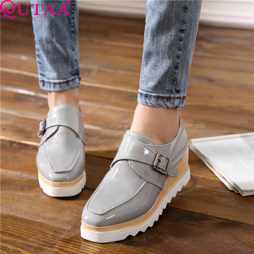 QUTAA Silver Fashion Ladies Summer Shoes Wedge High Heel Woman Pump Round Toe Buckle Women Wedding Shoes Size 34-43<br><br>Aliexpress