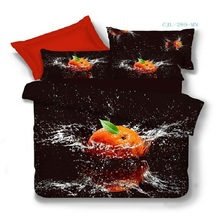 100% Cotton 3D Bedclothes 4pcs Bedding Sets  King Or Queen Orange Fruit Reactive Print