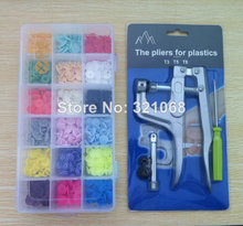 18 mixed color luster quickly press the button resin button T5 180 baby clothing accessories + 1set of pliers(China)