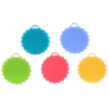 1PCS Round Silicone Dish Washing Sponge Scrubber Kitchen Cleaning antibacterial Tool Wash Bowl Kitchen Antibacterial Tools(China)