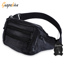 Guapabien Multiple Casual pu Waist Organizer Waist Bags Wholesale Men Male Casual Functiona Fanny Bag Waist Bag Money Phone Bag