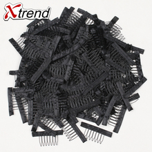 Xtrend New Black lace Wig clips Steel tooth Polyester durable cloth wig combs for hairpiece caps wig Accessories tools 20pcs
