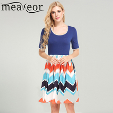 Meaneor Women Casual Dress O-Neck Wave Striped Patchwork A-Line Pleated Hem Elastic Band Summer Dresses Vestidos(China)