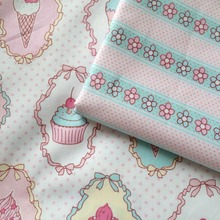 100*160cm 2016 cupcake icecream stripe floral AB 100% cotton twill for KIDS fabric quilting home decor patchwork telas cloth(China)