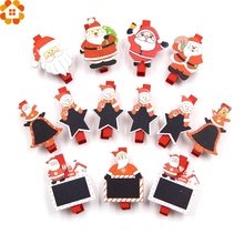 20PCS Christmas Wooden Clips Photo Clips Clothespin Clips DIY Craft Party Favors Home Garden Wedding/Christmas Party Decoration(China)