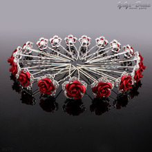 Fashion Red Rose 20Pcs Wedding Hairpins Crystal Rhinestone Hair Pin Clips Women Jewerly Bridal Bridesmaid Hair Accessories pins