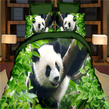 Black White Panda Green Leaves 3D Animal Bedding Set Queen Size 100%polyester Home Textiles 4pcs Duvet Cover Bedlinen Pillowcase