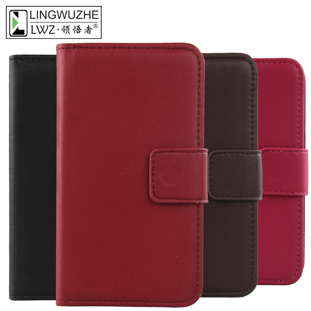LINGWUZHE Protector Phone Cover Flip Wallet Style Genuine Leather Case Digma VOX S504 3G 5''
