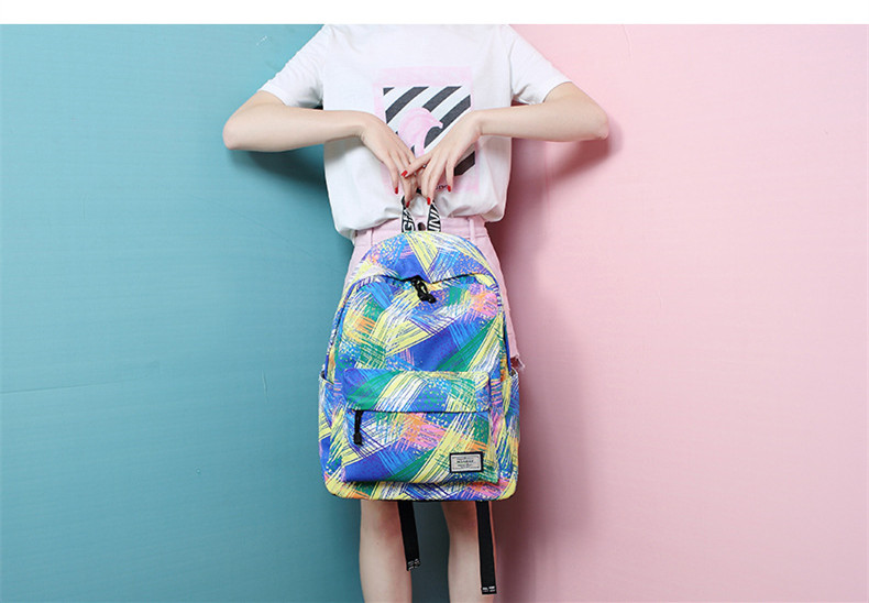 4aa54eb95b Fashion Women Waterproof Backpack School Bag Personality Printing Large  Capacity Girls Knapsack Back Packs Travelling Bags - us518