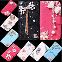 DIY Handmade PU Leather Wallet Cover For Alcatel U5 Flip Case With Stand Bling Mobile Phone Bag Cases