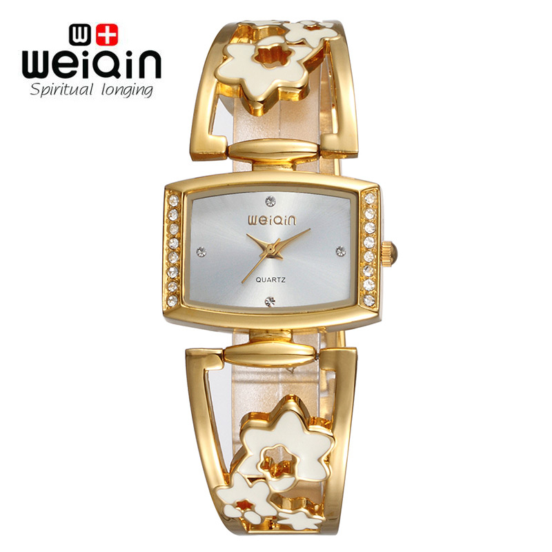 WEIQIN Brand New Arrival Women Fashion Rhinestone Hollow Watch Band Gold Square Quartz Watches Shock Waterproof Relogio Feminino<br><br>Aliexpress