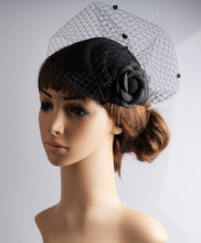 Fashion Black fascinator hat rose and mesh adorn headpiece occasion hair accessory events headwear suit for all seasons TMYQ104