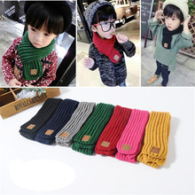 new Boy Girl Baby Winter Solid Color Scarf Warm Knitting Wool Scarf Children Winter Neck Warmer with the leather lable