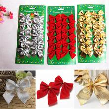 New Sale 12pcs Bow Christmas Present Tree Decoration Bowknot Party Xmas Decor Festival Supplies Red Color