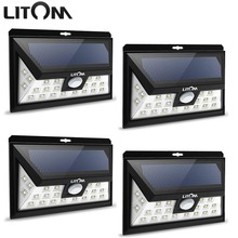 LITOM 24 LED solar light IP65 waterproof Wide Angle Security Motion Sensor Light with 3 Modes Motion Activated for Patio Garden