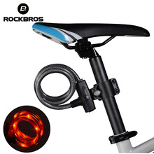 ROCKBROS Bike Cable Lock Mutifunction Tail Light Anti-Theft Bicycle Lock Steel Wire Safe Light Lock Flash Light 3 Modes Design(China)