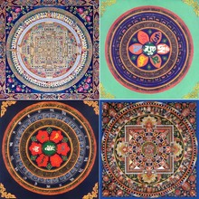 4 PCS Thangka (Group IV) Oil Painting Print on Cotton Canvas Painting Abstract Wall Art