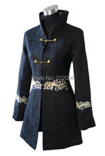 Free shipping hot sale chinese style Black Chinese Women's Cotton Long Jacket Embroider Coat Flowers Size M--4XL 2255-2