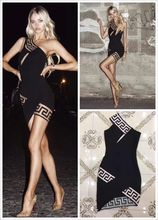 Top Quality Sexy Women Black One Shoulder Mini Rayon Bandage Dress Evening Party Dress(China)