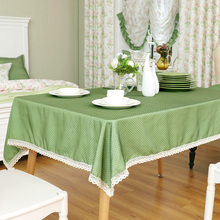 Modern Solid Green Rectangular Table Cloths Polka Dot Cutwork Blue Table Covers Elegant Table Overlays Dining Manteles(China)