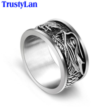 TrustyLan Fashion Brand Design 10MM Wide Dragon Ring Solid Stainless Steel Mens Ring Punk Cool Biker Male Jewelry Finger Rings