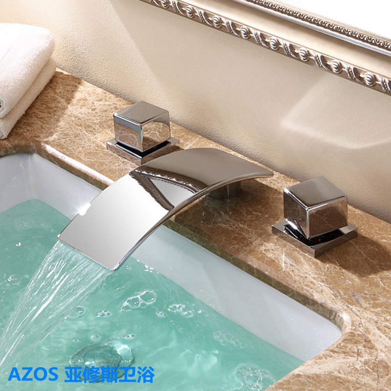 Chrome Silver Waterfall Deck Mounted 3 Holes 2 Handle Sink Faucets Hot Cold Water Mixer Tap Bathroom Basin Faucet MPSK026<br><br>Aliexpress