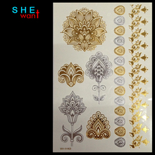 2017 Rushed Real Wholesale Body Paint Glitter Gold Tattoo Stickers Art Metal Temporary Flash Tattoos Arabic Henna Flower Tatoo(China)