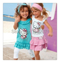 New 2-7 Year Baby Girls Hello Kitty Skirt Suits Kids Dress+Pants Cotton Clothing 2pcs Sets baby girls suit