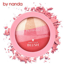 BY NANDA 3 Colors Baked Blush Makeup Cosmetic Natural Baked Blusher Powder Palette Charming Cheek Color Make Up Face Blush Pink(China)