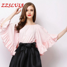 Buy 2017 new top fashion casual women's elegant slit neckline batwing sleeve ruffles designer loose blouses shirts tops for $26.40 in AliExpress store