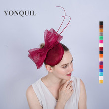 2017 Fashion cocktail hats sinamay base and trim with feather flower adorned party accasion hair accessories church headband(China)