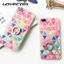 LOVECOM For iPhone 5 5S SE 6 6S Plus 7 7 Plus Colorful Triangle & Holder Back Covers Hard Scrub Anti Shock Mobile Phone Cases