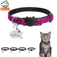 Gorgeous Quick Release Cat Puppy Tag Collar Set Personalized Nylon Dog Collars Engraved Tags For Small Pets Kitten 1cm Width(China)