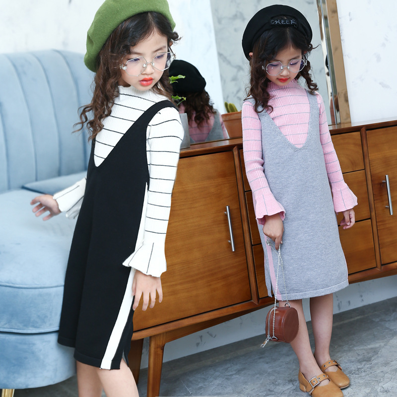 Pattern Stripe Round Neck Long Sleeve Rendering Unlined Upper Knitting Girl Sweater Vest Two Pieces Dress Kids Clothing Sets<br>