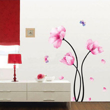 Interior DIY Decal Retro Pink Flower Design Wall Stickers Indoor Decor PVC Wallpaper for Living Room Bedroom Nice Home Supplies