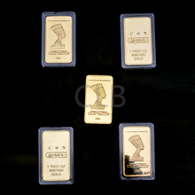 Wholesale Gold Plated Bar The Last Pharaoh of Ancient Egypt 1 Troy Oz Replica Gold Bar of The Cleopatra VII for Souvenir