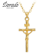 Dorado Top sale high quality low price gold color jesus cross pendant necklace religious jewelry crucifix necklace(China)