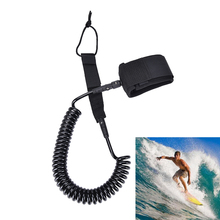 10ft 7mm Black Surfboard Surfing Foot Leash Coiled Rope TPU Paddle Board Surf Leash SUP Stand Up Paddle Board Leash(China)